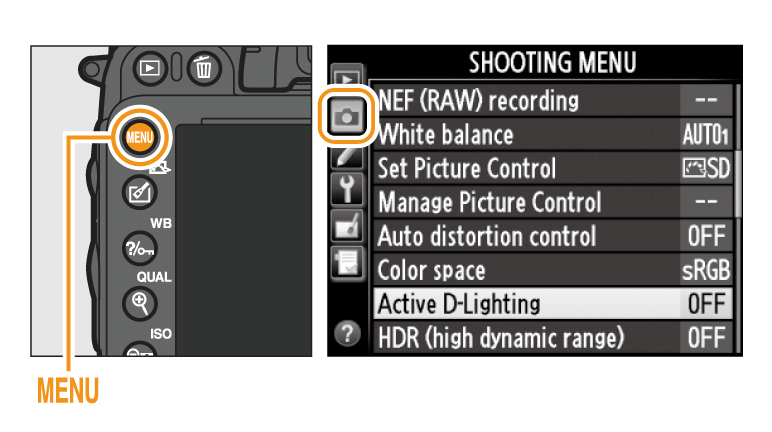 01. To display the menus press the MENU button. Highlight Active D-Lighting in the shooting menu and press the multi selector right.  sc 1 st  Imaging Products - Nikon & Nikon | Imaging Products | Digitutor | D610